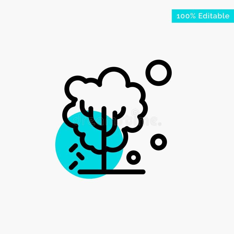 Sec, global, sol, arbre, icône de chauffage de vecteur de point de cercle de point culminant de turquoise illustration libre de droits