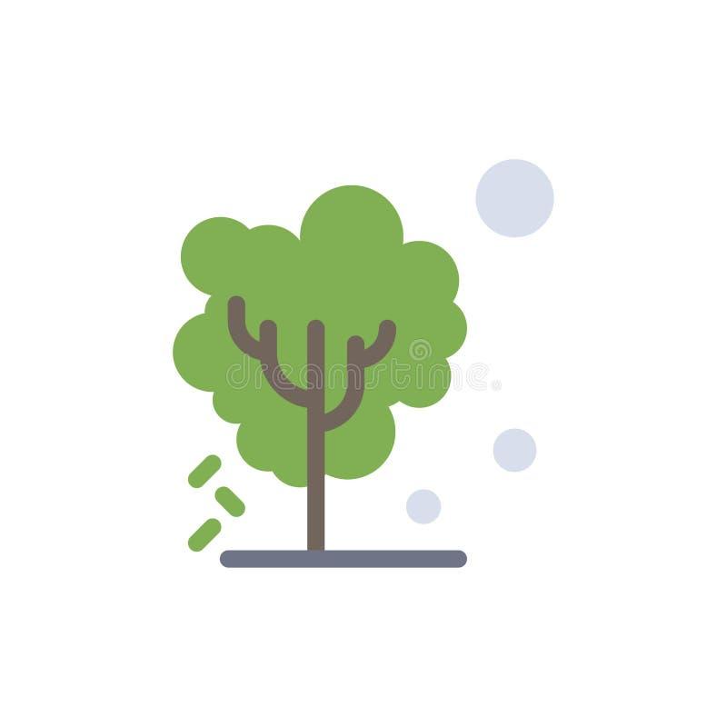 Sec, global, sol, arbre, icône plate de chauffage de couleur Calibre de bannière d'icône de vecteur illustration libre de droits