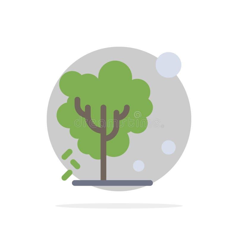 Sec, global, sol, arbre, icône plate de chauffage de couleur de fond abstrait de cercle illustration libre de droits