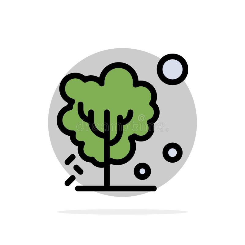 Sec, global, sol, arbre, icône plate de chauffage de couleur de fond abstrait de cercle illustration stock