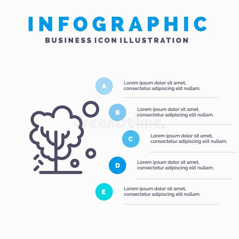 Sec, global, sol, arbre, ligne de chauffage icône avec le fond d'infographics de présentation de 5 étapes illustration stock