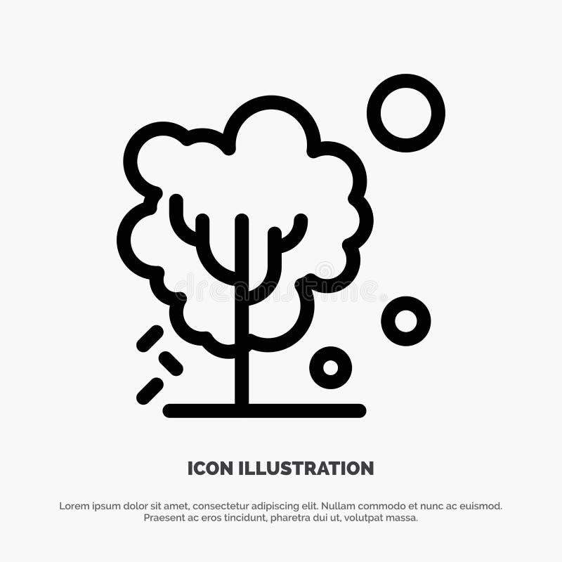 Sec, global, sol, arbre, ligne de chauffage vecteur d'icône illustration libre de droits