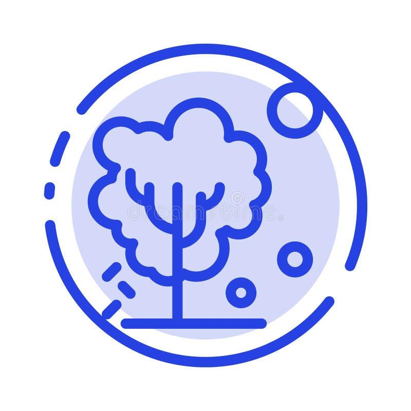 Sec, global, sol, arbre, ligne pointillée bleue de chauffage ligne icône illustration libre de droits