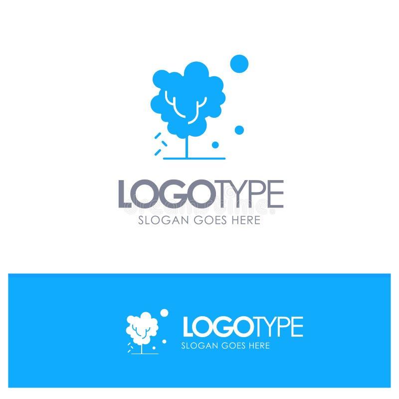 Sec, global, sol, arbre, logo solide bleu de chauffage avec l'endroit pour le tagline illustration de vecteur