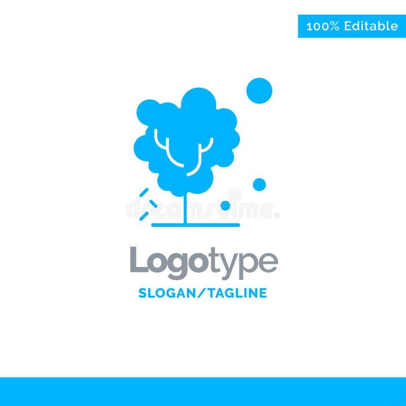 Sec, global, sol, arbre, Logo Template solide bleu de chauffage Endroit pour le Tagline illustration stock