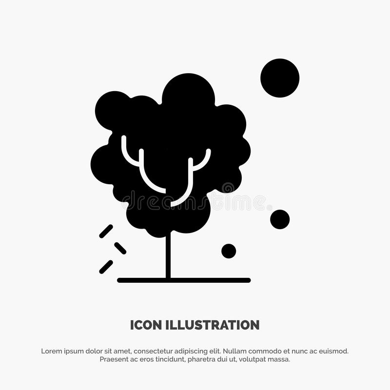 Sec, global, sol, arbre, vecteur solide de chauffage d'icône de Glyph illustration stock