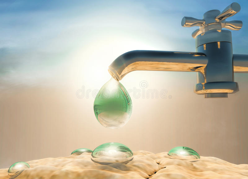 Seca, calor Molhe o gotejamento da gota fora do torneira da água-fonte, d ilustração do vetor