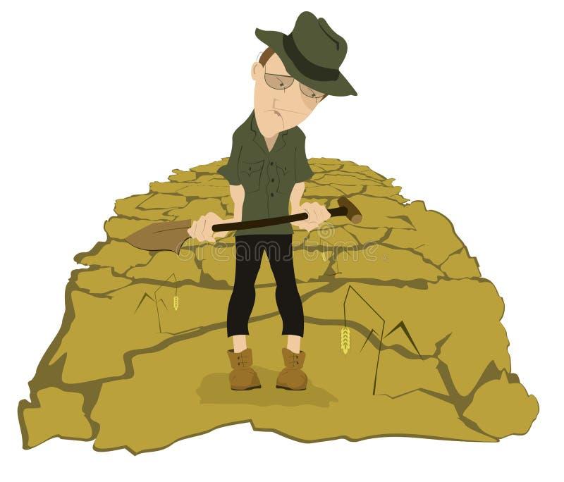 Seca no campo do fazendeiro ilustração royalty free