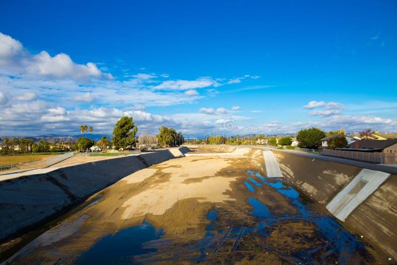 Seca vazia de Califórnia do sul do rio fotos de stock