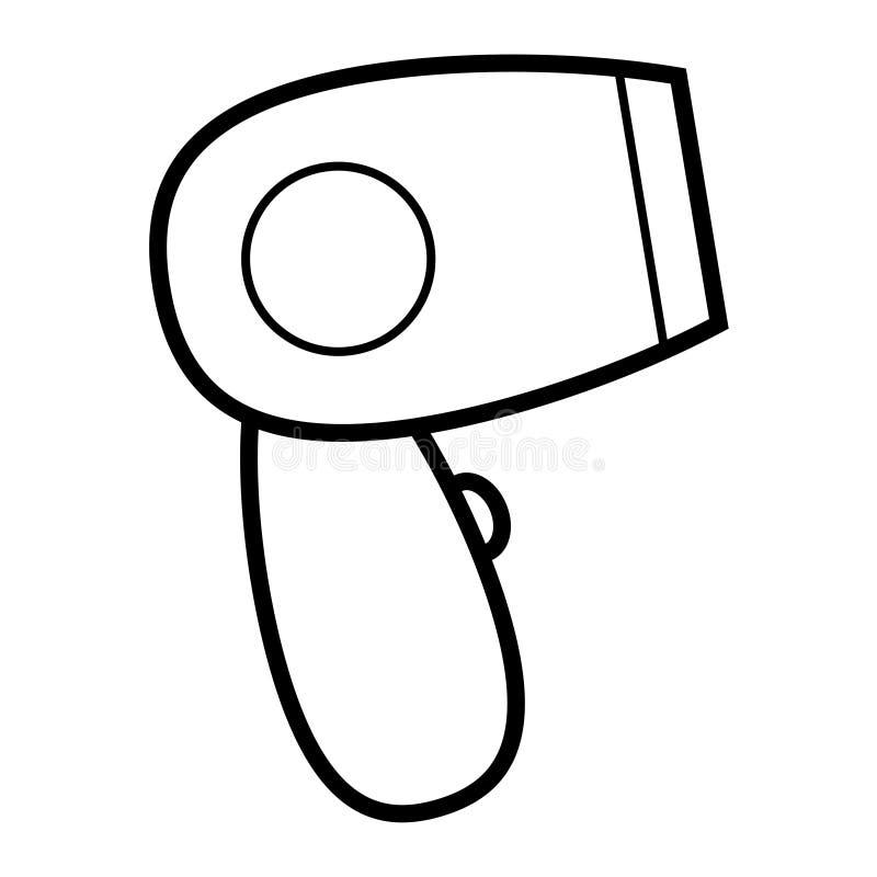 Secador de cabelo elétrico glamoroso elegante linear simples do ícone preto e branco, aparelho eletrodoméstico para o cabelo que  ilustração royalty free