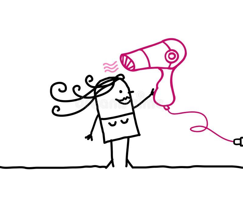 Secador de la mujer y de pelo ilustración del vector
