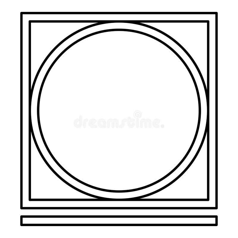 A secagem de cilindro no modo fácil da máquina veste os símbolos do cuidado que lavam a ilustração preta do vetor da cor do esboç ilustração do vetor