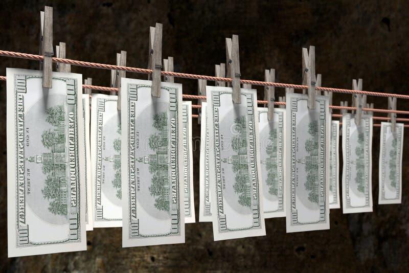 Secagem do dinheiro da lavanderia ilustração do vetor