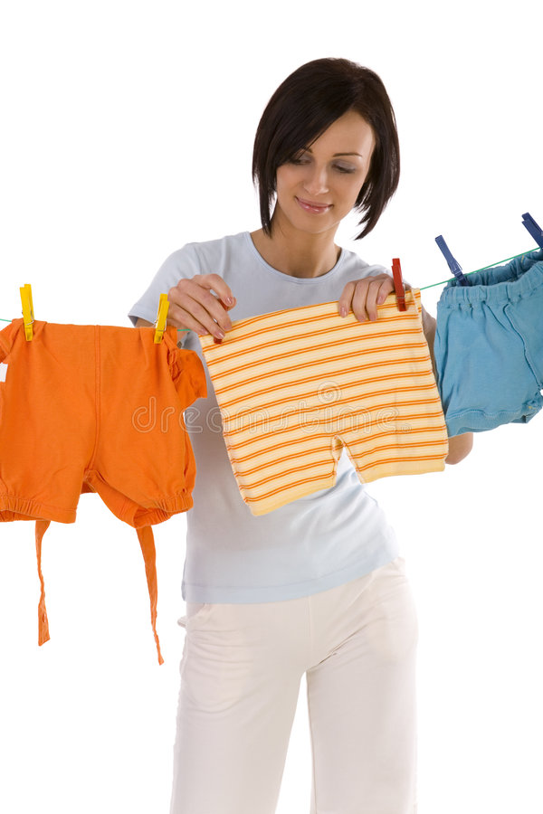 Secagem em um clothesline imagens de stock royalty free