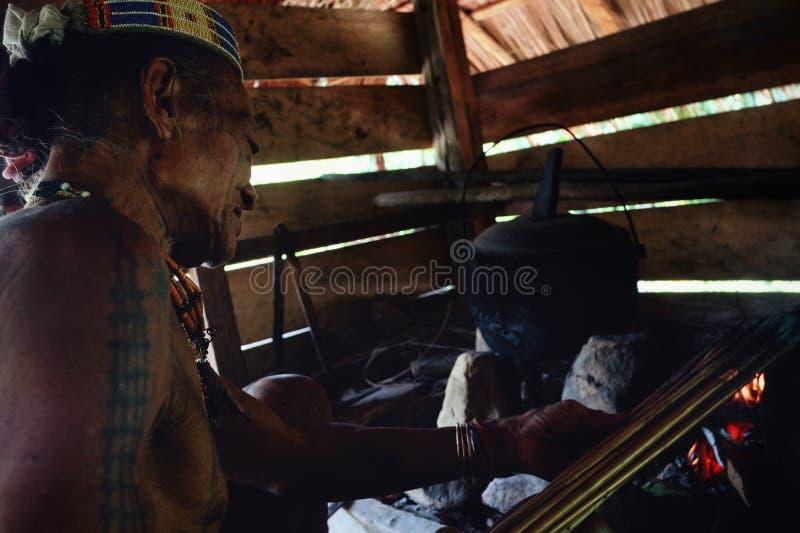 A secagem tribal de Toikot da pessoa idosa envenenou setas sobre o fogo em seu rainfor imagens de stock royalty free