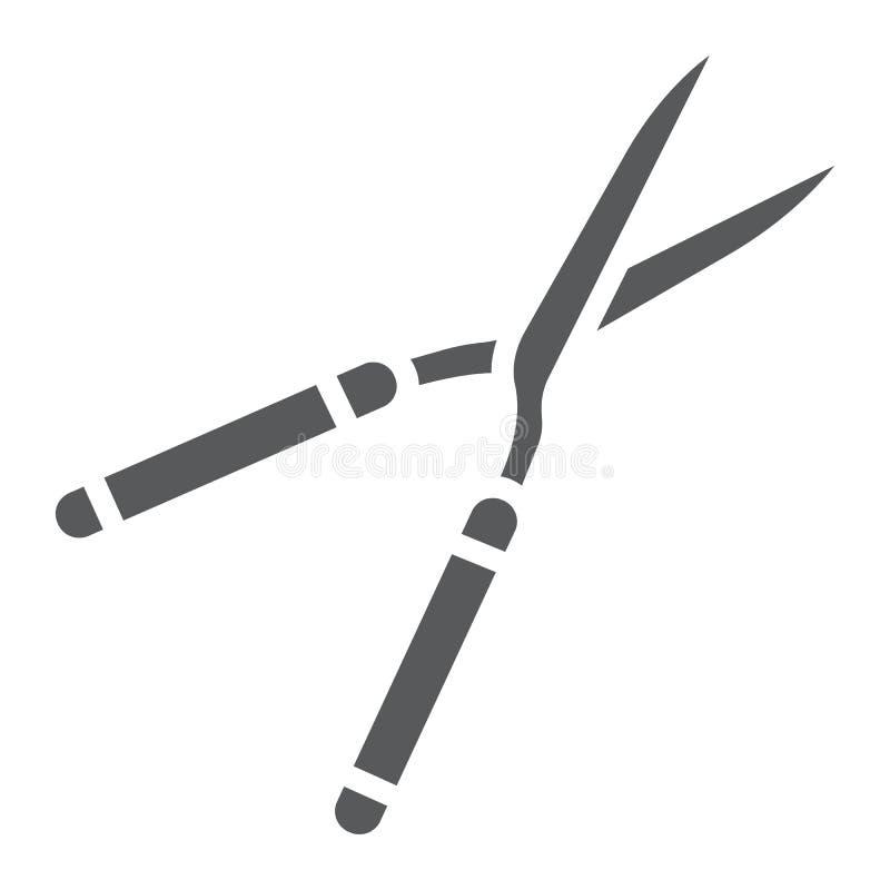 Secateurs glifu ikona, wyposażenie i ogród, nożyce podpisujemy, wektorowe grafika, bryła wzór na białym tle ilustracji