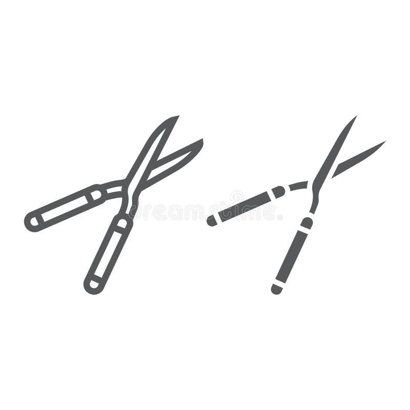 Secateurs linia, glif ikona, wyposażenie i ogród, nożyce podpisujemy, wektorowe grafika, liniowy wzór na bielu ilustracja wektor