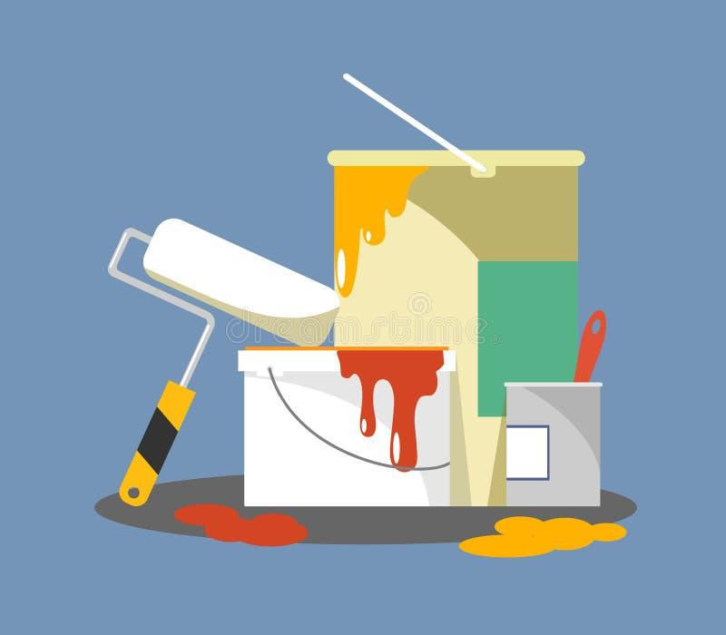 Secchi con le pitture ed il rullo per la riparazione e la pittura royalty illustrazione gratis