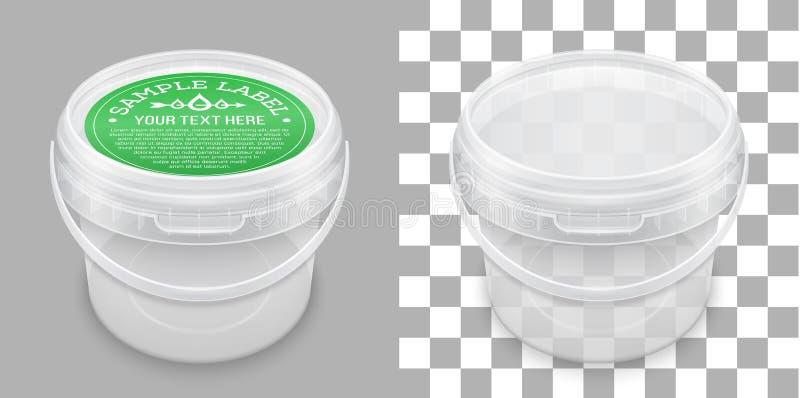 Secchio di plastica vuoto trasparente identificato per stoccaggio Modello d'imballaggio di vettore illustrazione di stock