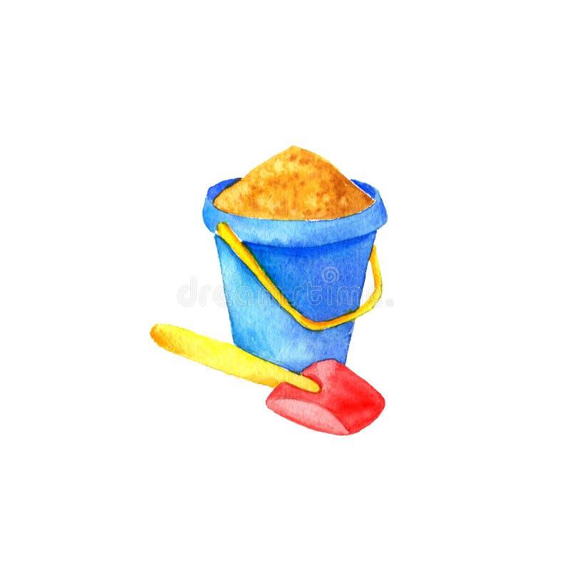 Secchio e pala della sabbia illustrazione di stock