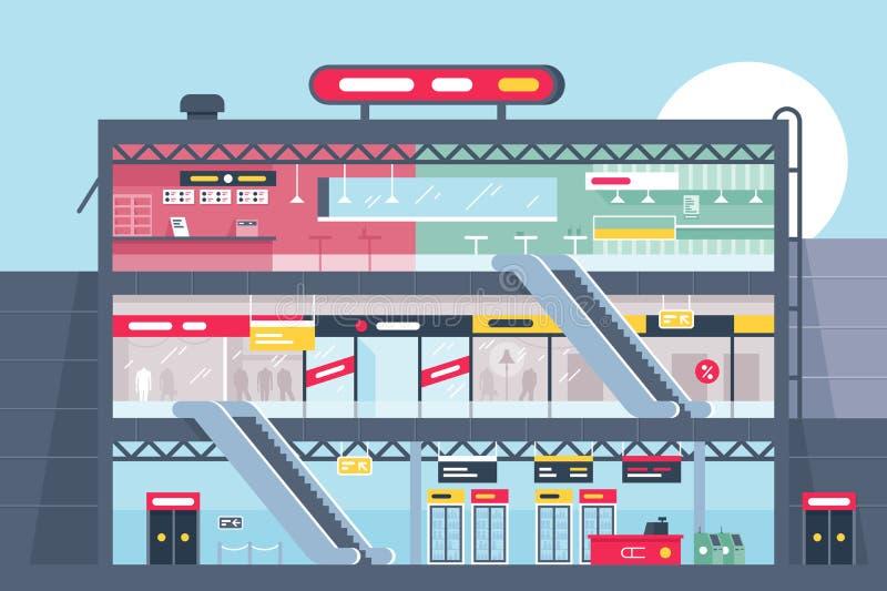 Sección de centro comercial plana con la tienda de la ropa, los alimentos de preparación rápida y los productos ilustración del vector