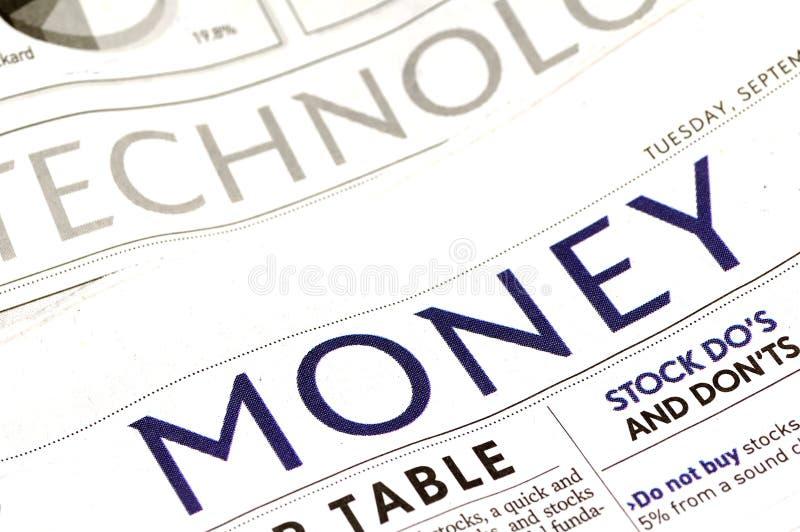 Sección del dinero foto de archivo libre de regalías