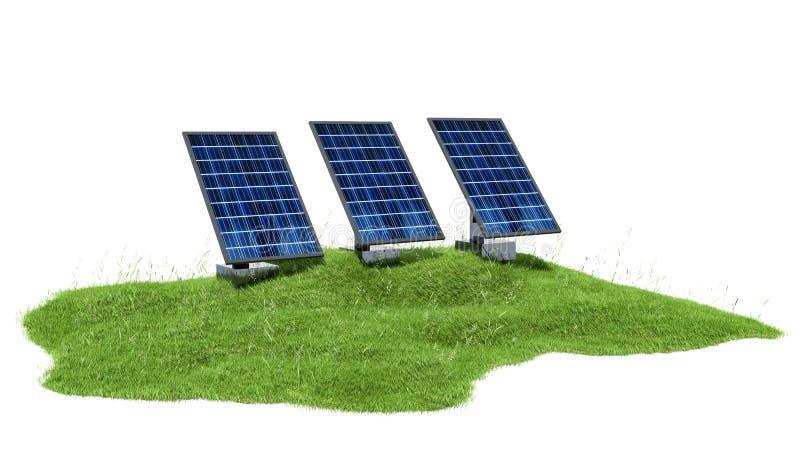 sección del ejemplo 3d de la hierba con los paneles solares en w ilustración del vector