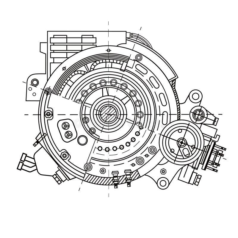 Sección del motor eléctrico que representa la estructura interna y los mecanismos Puede ser utilizado para ilustrar las ideas stock de ilustración