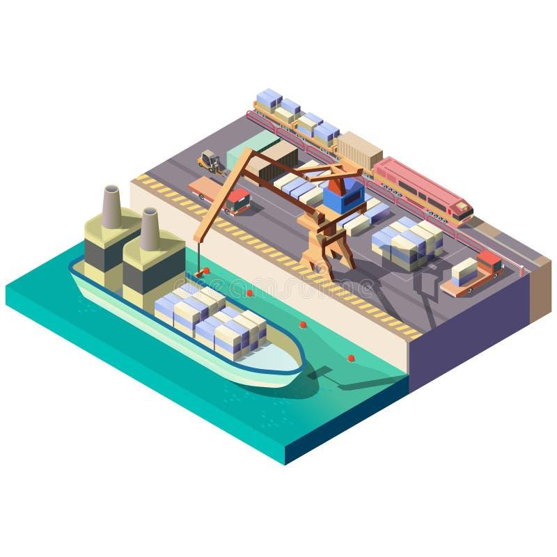 Sección isométrica portuaria del mapa del vector del cargo de la ciudad stock de ilustración