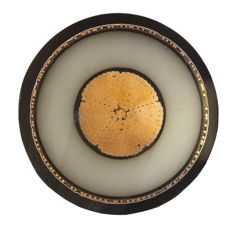 Sección representativa del cable de cobre fotografía de archivo libre de regalías