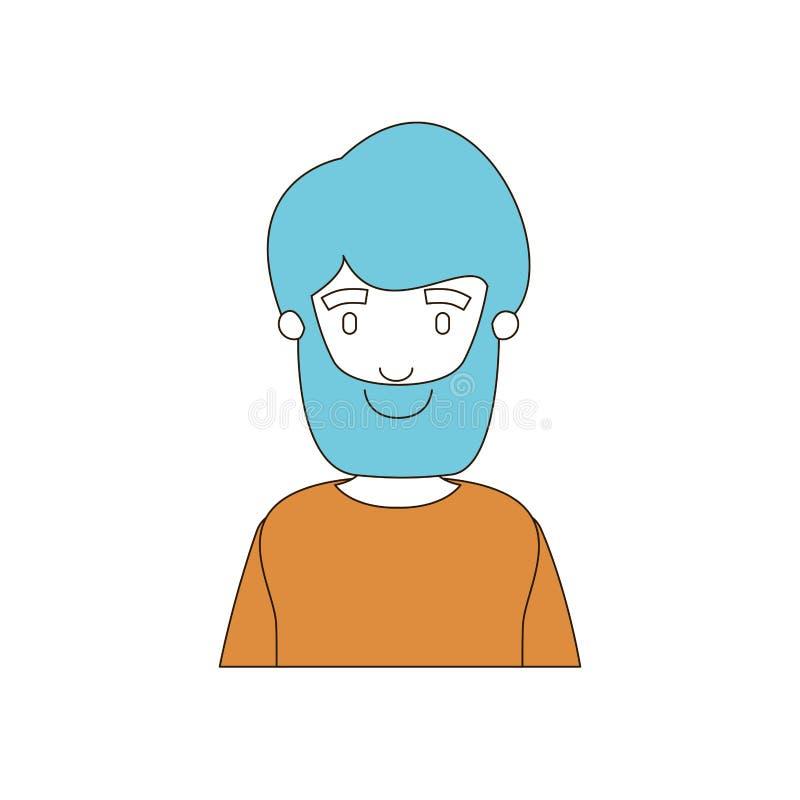Secciones del color de la caricatura y pelo azul del medio hombre del cuerpo barbudo con la camiseta stock de ilustración