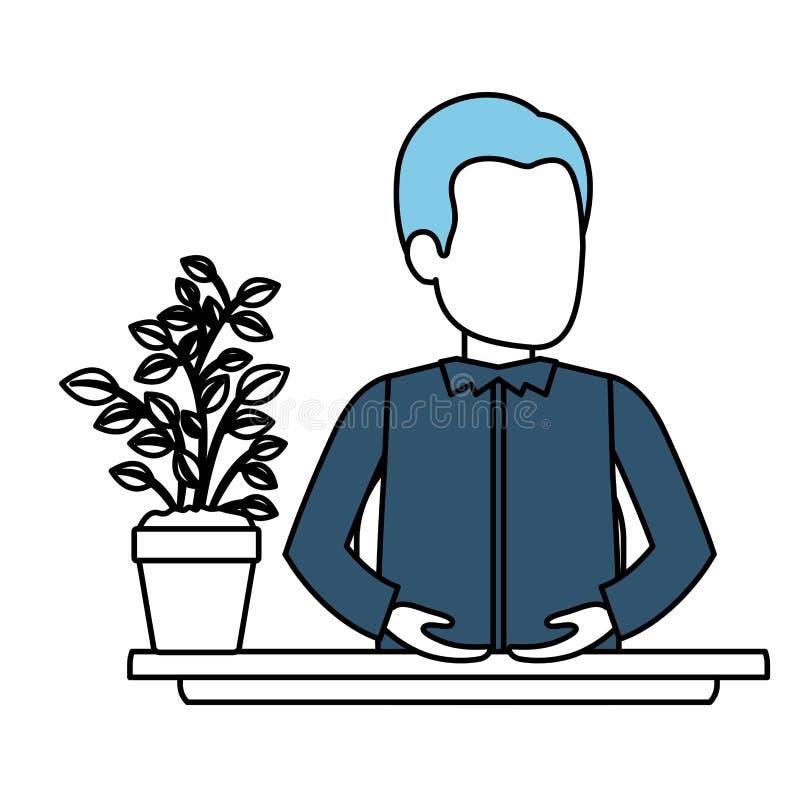 Secciones del color de la silueta del ayudante anónimo del hombre joven del medio cuerpo en escritorio en camisa formal libre illustration