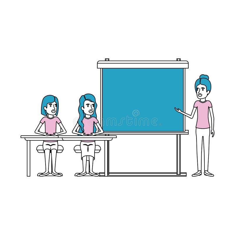 Secciones del color de la silueta con los pares de las mujeres que se sientan en un escritorio para el ejecutivo de sexo femenino libre illustration