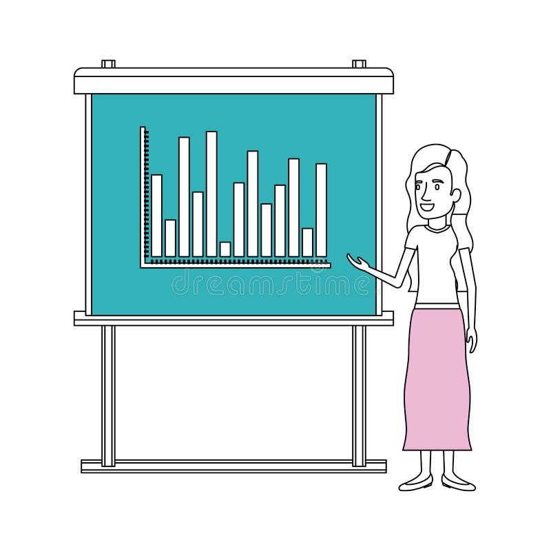 Secciones del color de la silueta de la mujer en tablero de la presentación con los gráficos de las columnas stock de ilustración