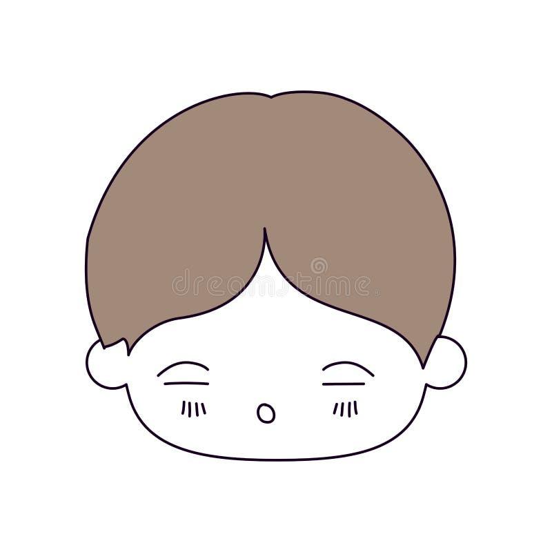 Secciones del color de la silueta y pelo marrón claro de la cabeza del kawaii del niño pequeño con la expresión facial de cansado libre illustration