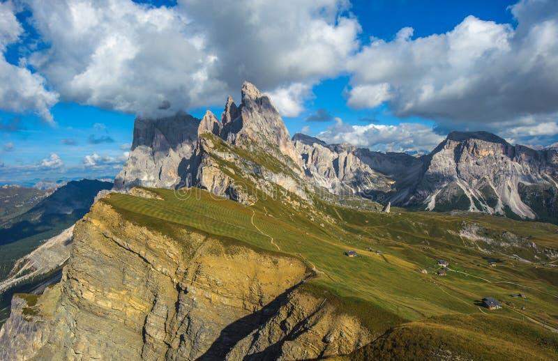 Seceda peak, Odle mountain range, Gardena Valley, Dolomites, Italy. Image of Seceda peak, Odle mountain range, Gardena Valley, Dolomites, Italy stock photography