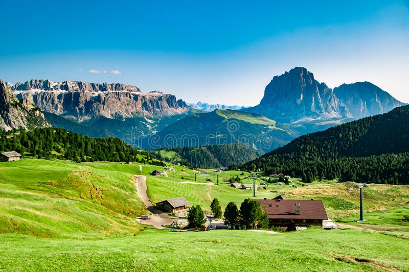 Seceda, the sunny side of Val Gardena royalty free stock image