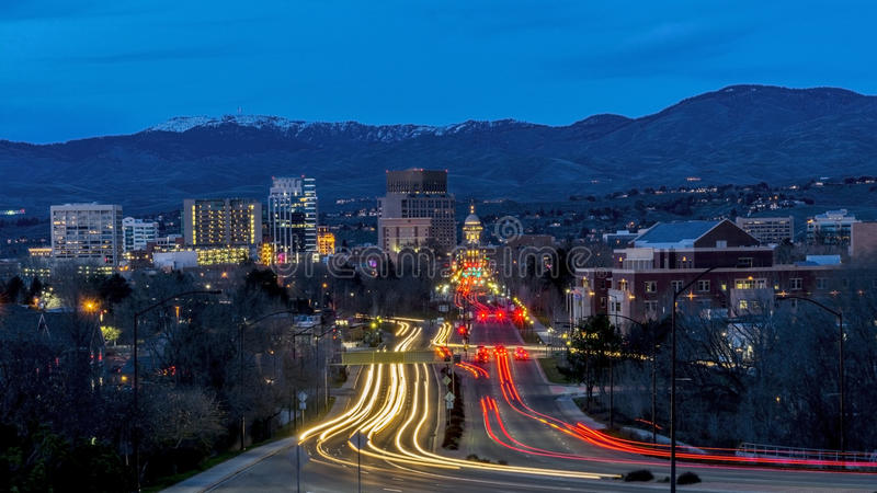 Secene de nuit de Boise Idaho de boulevard capital photo stock