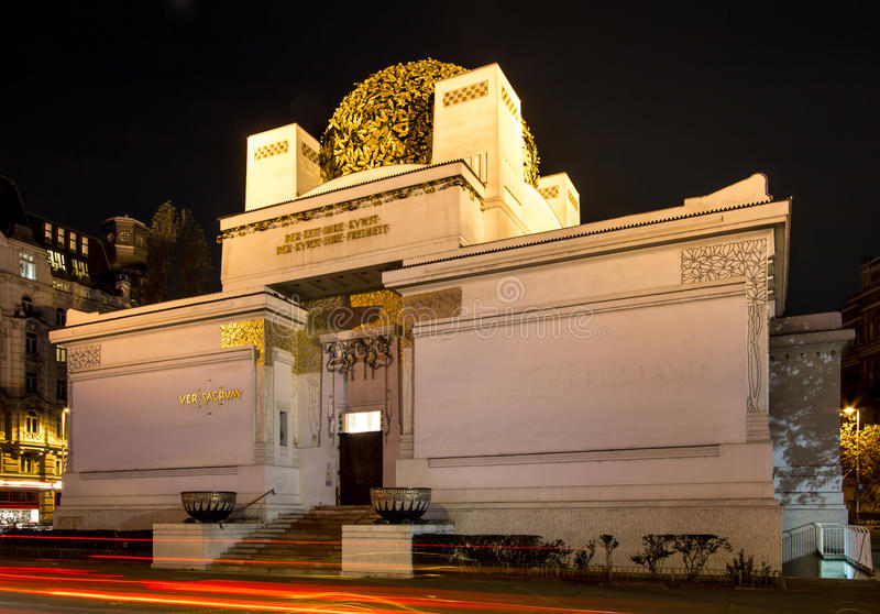 Secession Exibition Hall in Vienna at night. CSecession Exibition Hall in Vienna, Austria royalty free stock photos