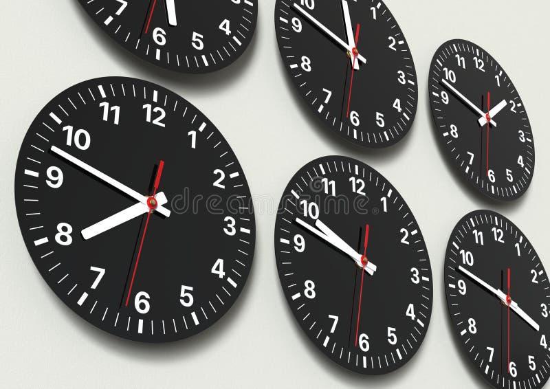Sechs analoge Uhren auf der Wand, Weltzeit zeigend lizenzfreie stockfotos