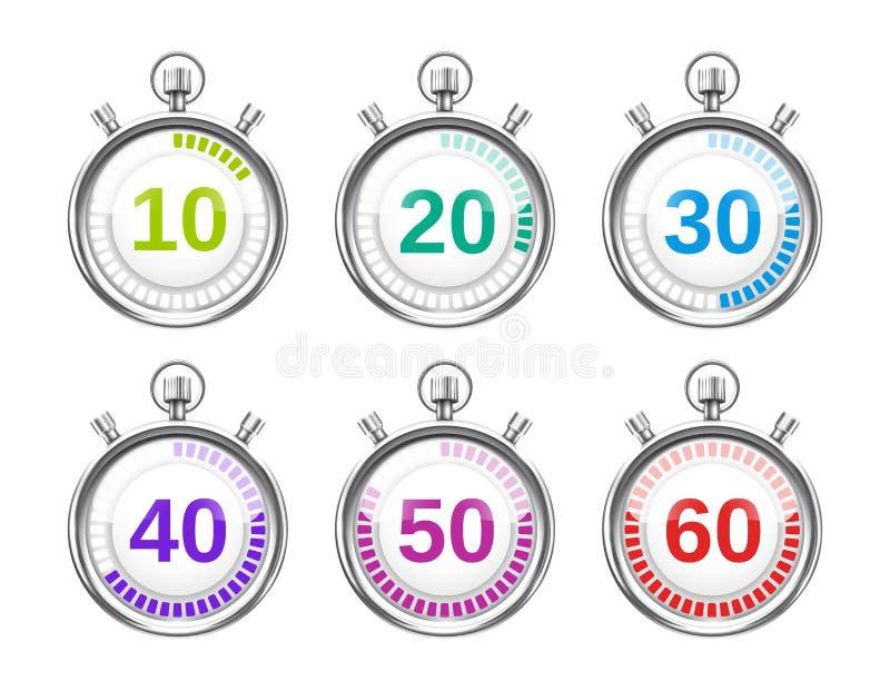 Sechs bunte Stoppuhren mit unterschiedlichen Zeiten lizenzfreie abbildung