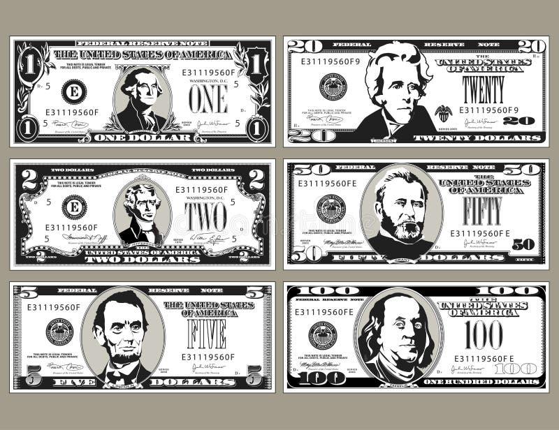 Sechs einzeln aufgef?hrt, stilisierte Zeichnungen von Rechnungen stock abbildung