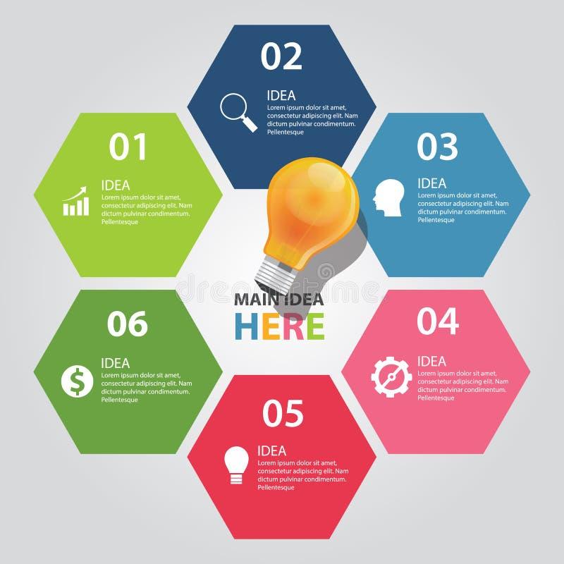 Sechs 6 Elemente Diagrammvektor-Birnengeschäfts der Ideeninformationen des grafischen glänzen lizenzfreie abbildung