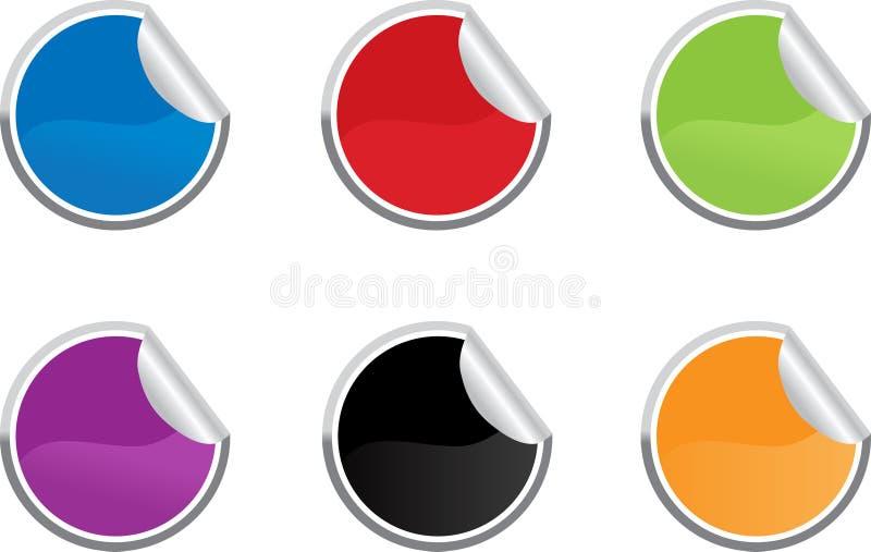 Sechs farbiger klebriger Kennsatz lizenzfreie abbildung