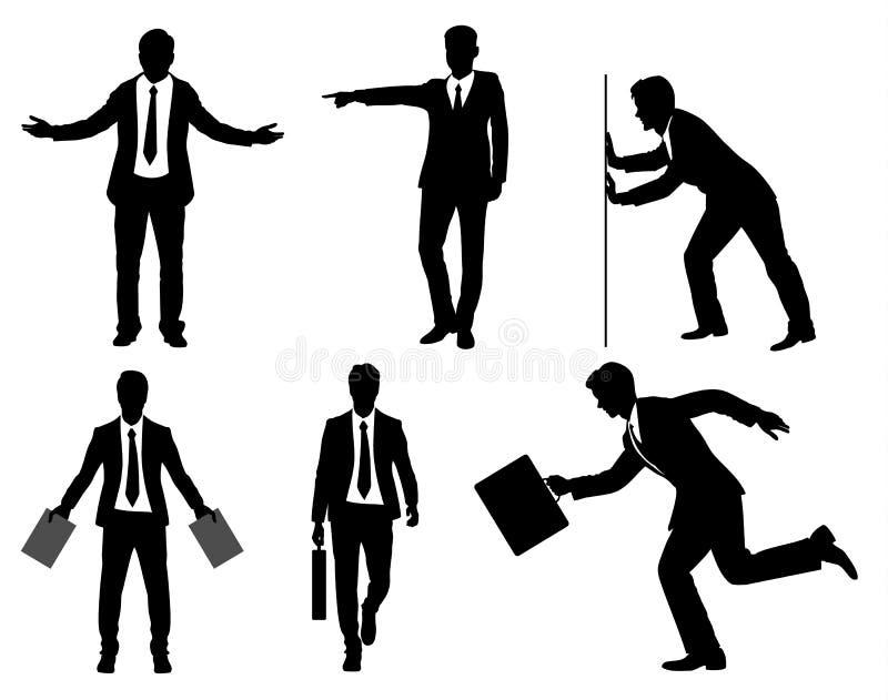 Sechs Geschäftsmannschattenbild stock abbildung