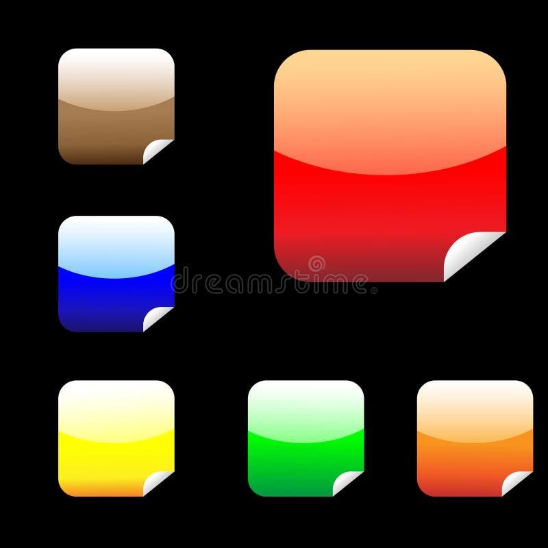 Sechs glänzende quadratische Aufkleber stock abbildung