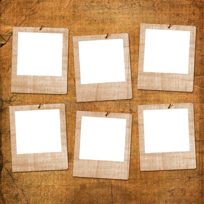 Sechs grunge Plättchen von den alten Papieren lizenzfreie abbildung