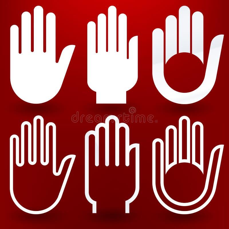 Sechs Hände vektor abbildung