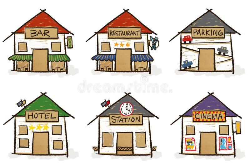 Sechs Hand gezeichnete Häuser vektor abbildung