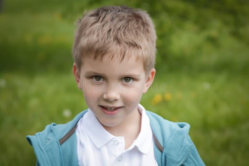 Sechs Jahre alte Jungenporträt über Grün stockfoto